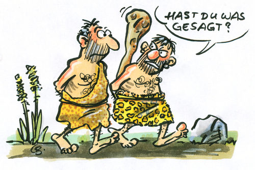 Cartoon: ... (medium) by GB tagged steinzeit,stoneage,prephistoric,weapon,waffe