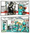 Cartoon: ... (small) by GB tagged klinik,op,tod,operation,death,reanimation,notfall,sterben,krankenhaus,arzt,patient,sensenmann,defillibrator