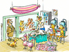 Cartoon: dog parlour (small) by GB tagged hunde,salon,tiere,animals,wellness,schönheit,massage,dauerwelle,shop,dog