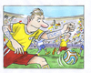 Cartoon: fußball strategie (small) by GB tagged soccer,fußball,strategie,technik,konter,stürmer,angriff,wm,em,pokal,brasilien,elf,tattoo,spickzettel