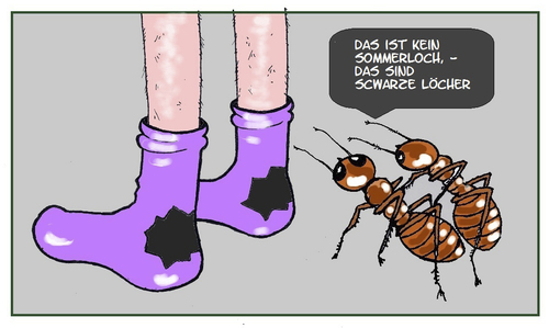 Cartoon: Loch an Loch (medium) by Retlaw tagged den,von,loch,schwarzes,sommerloch,socken