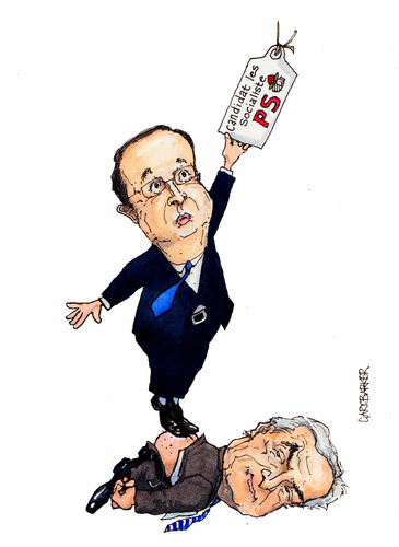 Cartoon: France Parti Socialiste Candidat (medium) by barker tagged francois,hollande,dominique,strauss,kahn,socialiste,socialist,party,parti,candidate,candidat,cartoon,strauss kahn,holland,strauss,kahn