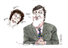 Cartoon: Stephen Fry and Alan Davies (small) by barker tagged stephen,fry,alan,davies,cartoon,caricature,qi,bbc