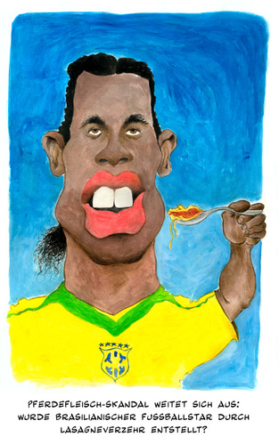 Cartoon: Pferdefleischskandal (medium) by Mario Schuster tagged karikatur,cartoon,mario,schuster,pferdefleisch,lasagne,skandal,ronaldinho,fussball