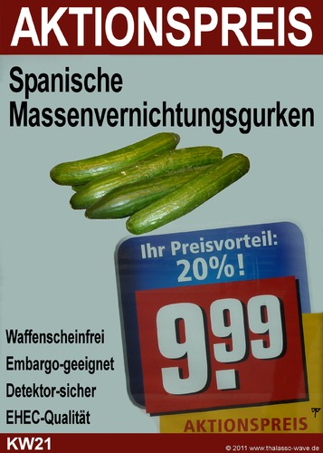Cartoon: Cucumbers of Mass Destruction (medium) by thalasso tagged ehec,spanien,hamburg,gurken,hus