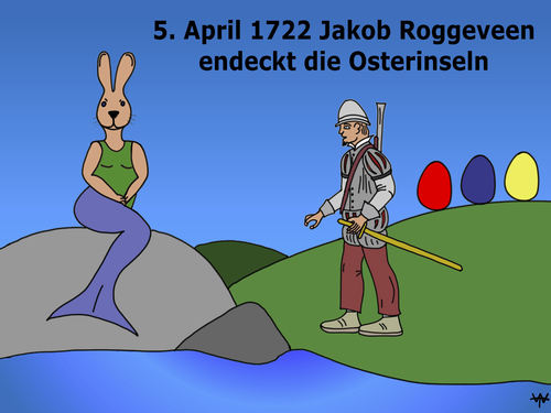 Cartoon: Frohe Ostern! (medium) by thalasso tagged ostern,osterinseln,entdecker,ostereier,osterhase