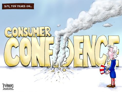 Cartoon: 9-11 Ten Years On (medium) by karlwimer tagged business,economy,consumer,confidence,usa,uncle,sam,terror,911
