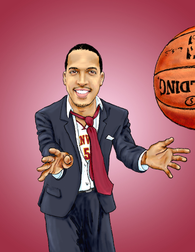 Cartoon: BAC Magazine Cover Billups (medium) by karlwimer tagged basketball,coach,player,hoops,du,denver,billups,ball