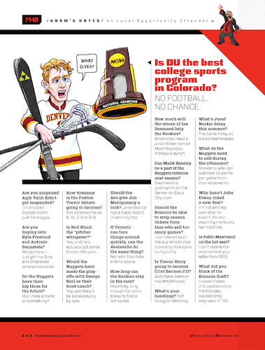 Cartoon: DU Sports Dont Get Respect (medium) by karlwimer tagged football,sports,american,ski,racing,lacrosse,denver,colorado,champions