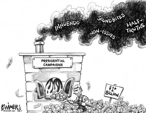 Cartoon: Election Smoke (medium) by karlwimer tagged election,process,us,wasted,money