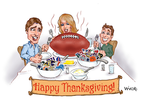 Cartoon: Happy Football Thanksgiving (medium) by karlwimer tagged american,football,sports,thanksgiving,usa,meal,feast,college,pro,nfl