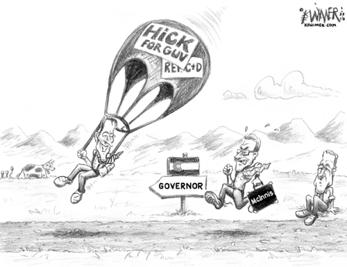 Cartoon: Hick Parachute (medium) by karlwimer tagged colorado,governor,campaign,hickenlooper,mcinnis,parachute,politics