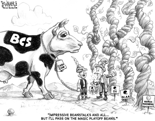Cartoon: Magic Playoff Beans (medium) by karlwimer tagged ncaa,football,championship,playoff,jack,beanstalk,cash,cow,business