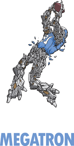 Cartoon: Megatron (medium) by karlwimer tagged megatron,calvin,johnson,detroit,lions,nfl,football,american,receiver,catch,robot