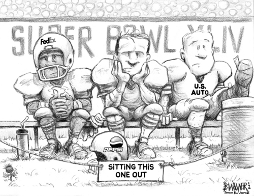 Cartoon: Sitting Out the Super Bowl (medium) by karlwimer tagged super,bowl,football,championship,us,pepsi,fedex,automobiles,cars,business,economics,advertising