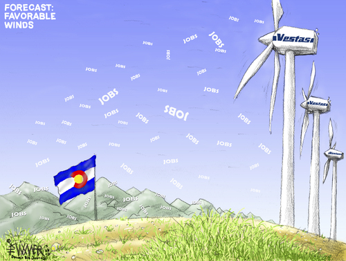 Cartoon: Vestas Good Wind (medium) by karlwimer tagged vestas,wind,windfarm,turbines,colorado,economy,business,jobs,employment