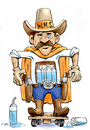 Cartoon: Cowboy Water Caddy Illustration (small) by karlwimer tagged basketball,water,carrier,caddy,illustration,sports