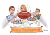 Cartoon: Happy Football Thanksgiving (small) by karlwimer tagged american,football,sports,thanksgiving,usa,meal,feast,college,pro,nfl