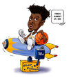 Cartoon: Mudiay Denver Nugget Youth (small) by karlwimer tagged nba,basketball,mudiay,emanuel,denver,nuggets,ball,rocket,kid
