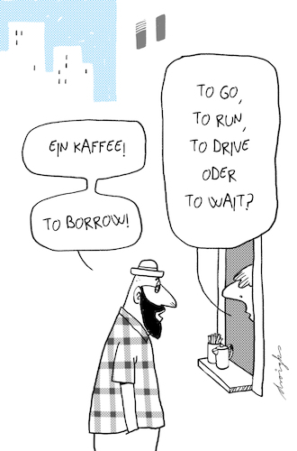 Cartoon: Coffe to borrow (medium) by droigks tagged coffee,to,go,kaffee,urban,coffee,to,go,kaffee,urban