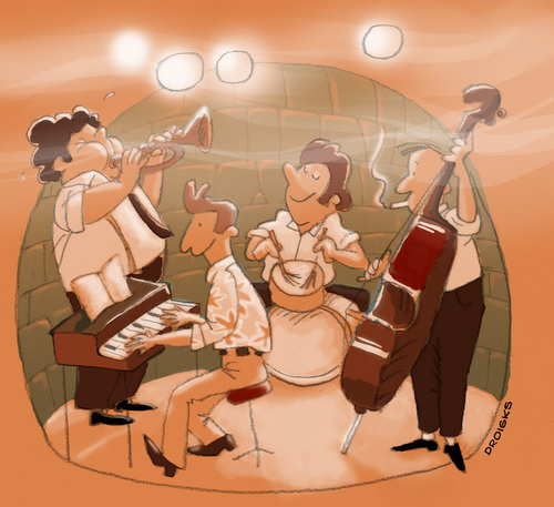 Cartoon: JazzBand (medium) by droigks tagged groove,keyboard,schlagzeug,kontrabass,bläser,trompete,band,musik,jazzkeller,jazzband,jazz,illustration,illustrationen,band,musiker,musik,auftritt,jazzband,jazz,jazzkeller,trompete,bläser,kontrabass,schlagzeug,keyboard,kultur