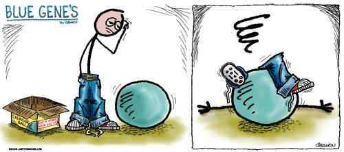 Cartoon: Blue Genes Exercise ball... (medium) by GBowen tagged cartoon,stickman,blue,sad,moody,gbowen