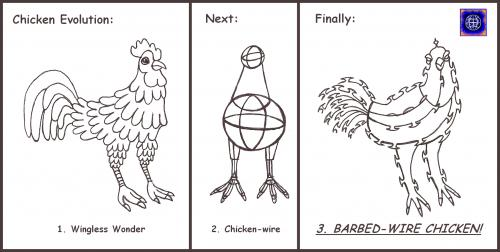 Cartoon: Evolution of the Wingless Wonder (medium) by Tzod Earf tagged cartoon,barbed,wire,chicken