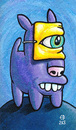 Cartoon: Masked Dog (small) by birdbee tagged dog,purple,mask,painting,acrylic