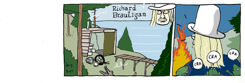 Cartoon: confederate general from big sur (medium) by marco petrella tagged richard,brautigan