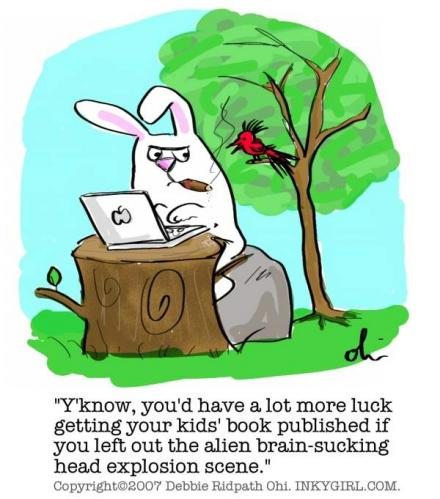 Cartoon: Bad Rabbit (medium) by Inkygirl tagged writer,writing,rabbit,novel