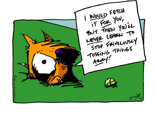 Cartoon: fetch (medium) by ericHews tagged fetch,get,retrieve,throw,repeat,repetitive,repetition,pointless,exercise,ball,stick