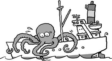 Cartoon: Giant squid boards a ship (medium) by Ellis Nadler tagged squid,monster,octopus,giant,sea,ship,ocean,tentacles