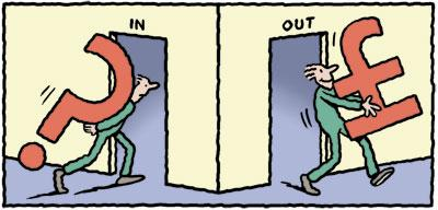 Cartoon: In - Out (medium) by Ellis Nadler tagged question,money,in,out,door,carry,burden,sterling,pound,man