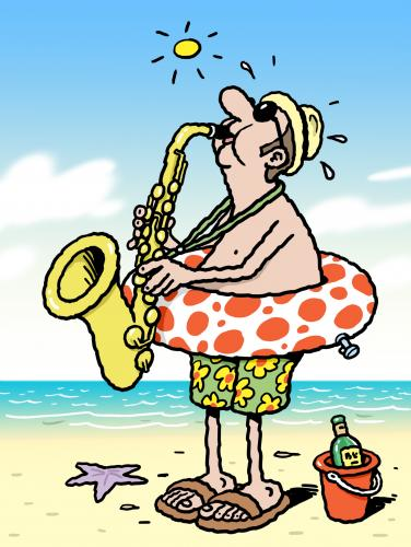 Cartoon: Sax on the beach (medium) by Ellis Nadler tagged beach,sea,sand,sun,music,jazz,saxaphone,blow,brass,ring,polka,dots,shorts,bucket,beer,hat,hot,holiday,vacation