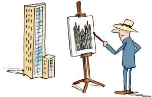 Cartoon: The Painter (medium) by Ellis Nadler tagged painter,artist,architect,architecture,building,modern,gothic,easel,hat,skyscraper,aesthetics