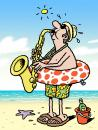 Cartoon: Sax on the beach (small) by Ellis Nadler tagged beach,sea,sand,sun,music,jazz,saxaphone,blow,brass,ring,polka,dots,shorts,bucket,beer,hat,hot,holiday,vacation