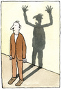 Cartoon: The Bad Shadow (small) by Ellis Nadler tagged shadow,personality,man,monster,oblivious,split,anger