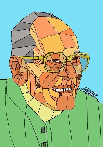 Cartoon: Naguib Mahfouz (medium) by omar seddek mostafa tagged naguib,mahfouz