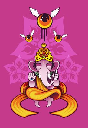 Cartoon: Ganesha (medium) by Aleix tagged aleix,gordo,hostau,graffiti,comicbook,ganesha,hinduism,gods,manga