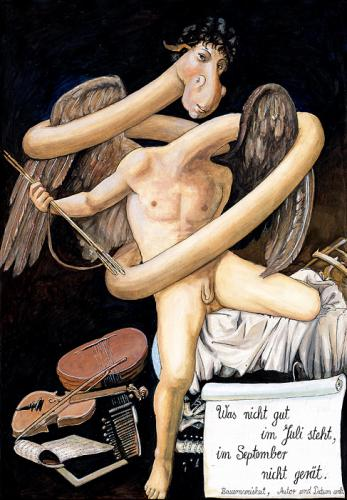 Cartoon: Naked Amor (medium) by M Missfeldt tagged naked,amor,angel,young,man,barock,caravaggio,art,history