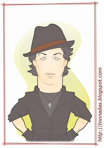 Cartoon: Stallone - as Rocky (medium) by Freelah tagged sylvester,stallone,rambo,rocky,balboa,cobra,action,movies
