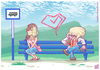 Cartoon: Valentines Day at the Bus Stop (small) by Freelah tagged facehugger,headcrab,zombie,half,life,alien,the,movie,aliens