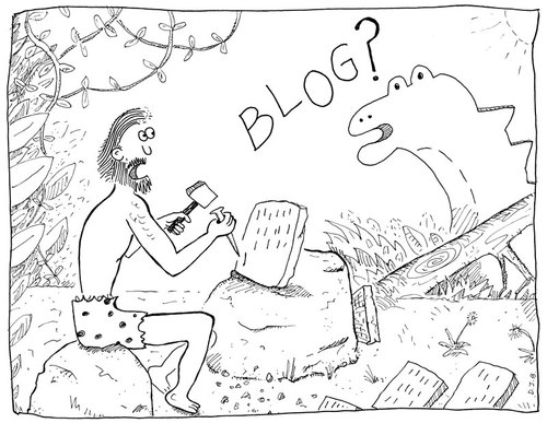 Cartoon: In the Bloginning (medium) by David_Bromley tagged blog,cave,man,dinosaur,chisel,communication
