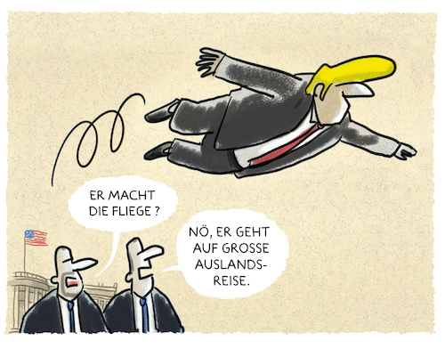 Cartoon: ... (medium) by markus-grolik tagged trump,auslandsreise,usa,präsident,trump,auslandsreise,usa,präsident