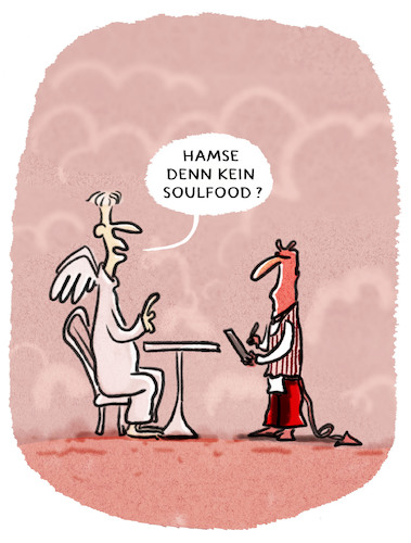 Cartoon: ... (medium) by markus-grolik tagged soulfood,framing,wording,essen,konsum,hölle,religion,genuss,engel,himmel,paradies,gastro,soulfood,framing,wording,essen,konsum,hölle,religion,genuss,engel,himmel,paradies,gastro