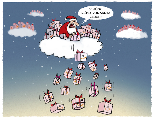 Cartoon: Online-Business (medium) by markus-grolik tagged amazon,einzelhandel,weihnachtsgeschaeft,bezos,online,internetkonsum,cloud,amazon,einzelhandel,weihnachtsgeschaeft,bezos,online,internetkonsum,cloud