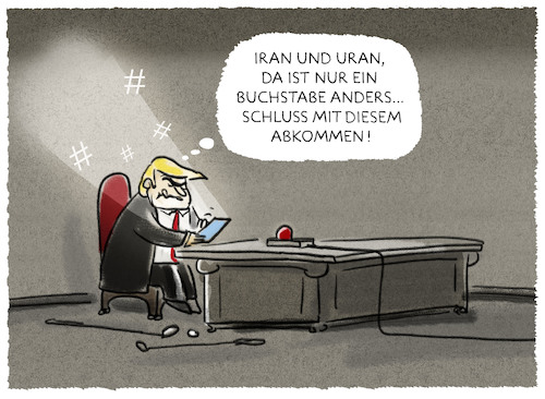 Cartoon: ...Ausstieg... (medium) by markus-grolik tagged usa,iran,trump,antiatomabkommen,atom,atombombe,uran,washington,naher,osten,usa,iran,trump,antiatomabkommen,atom,atombombe,uran,washington,naher,osten