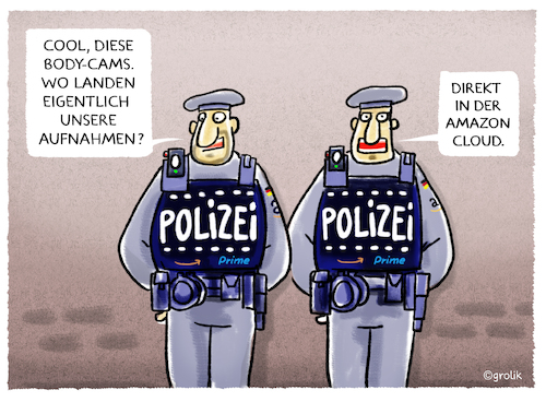 Cartoon: Dein Freund und Helfer... (medium) by markus-grolik tagged bundespolizei,amazon,body,cam,bodycam,bodycams,koerperkamera,datenschutz,polizei,server,cloud,demokratie,sicherheit,bundespolizei,amazon,body,cam,bodycam,bodycams,koerperkamera,datenschutz,polizei,server,cloud,demokratie,sicherheit