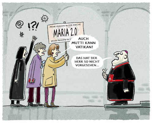 Cartoon: ...Kirchenprotest... (medium) by markus-grolik tagged kirche,maria,frau,frauen,in,der,kirchenamt,papst,bischof,kardinal,kurie,nonnen,katholizismus,rom,vatikan,glaube,priester,priesterinnen,seelsorge,marx,petersdom,franziskus,gott,jesus,kirche,maria,frau,frauen,in,der,kirchenamt,papst,bischof,kardinal,kurie,nonnen,katholizismus,rom,vatikan,glaube,priester,priesterinnen,seelsorge,marx,petersdom,franziskus,gott,jesus