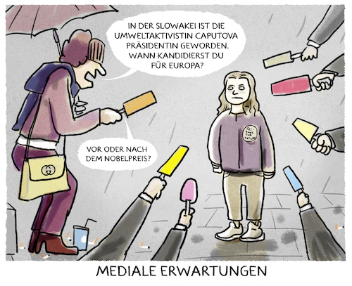 Cartoon: ...Klimawandel.... (medium) by markus-grolik tagged greta,thunberg,slowakei,caputova,europa,medien,nobelpreis,tv,reporter,news,goldene,kamera,klimawandel,greta,thunberg,slowakei,caputova,europa,medien,nobelpreis,tv,reporter,news,goldene,kamera,klimawandel
